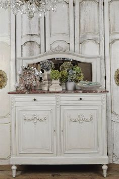 Love the color finish and the design of this lovely romantic antique French server.