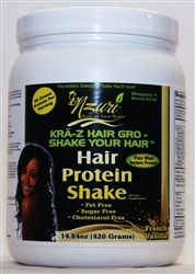 NZURI Shake Your Hair™ Hair Growth Whey Protein Shake. Each delicious serving of Shake Your Hair Whey Protein Rich-Shake provides 26 grams of Protein and a complete balance of protein, vitamins, minerals, enzymes and a whopping 18 amino acids, offering enhanced nutritional support for beautiful healthy hair.