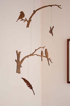 Wooden bird mobile! Rustic! LOVE