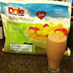 Mixed Fruit Smoothie  Mixed fruit, yogurt, honey,  Orange juice blend together with some ice. Yummmmmmy