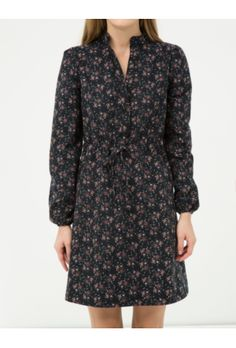 Ole Kadın Çiçekli Elbise Siyah