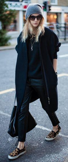 black coat & slip-on