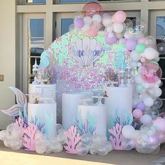 2 pcs Under The Sea & Little Mermaid Baby Shower Party Decorations - Roll It Baby Mermaid Theme Birthday, Little Mermaid Birthday, Little Mermaid Parties, Mermaid Themed Party, Mermaid Party Decorations, Balloon Decorations, Birthday Decorations, Shower Party, Baby Shower Parties