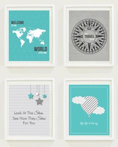 Nursery Prints: Around The World - Travel Nursery - Alphabet - Hot Air Balloon-Compass- Not All Who Wander Are Lost-Home Decor-Gallery Wall - #11102