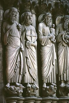 Chartres Cathedral. North portal. Apostles and prophets carrying symbols to recognize them