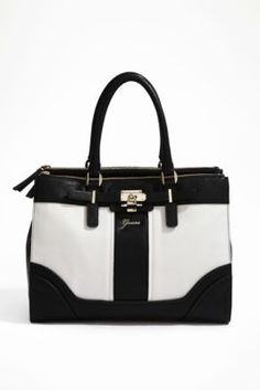 Instantly elevate your style status with this color-blocked carryall. The tough-luxe lock detail delivers trend-driven edge and the roomy divided interior keeps you organized on the go. Tote Handbags, Purses And Handbags, Leather Handbags, Guess Purses, Guess Bags, Beautiful Handbags, Beautiful Bags, Black And White Bags, Purse Styles