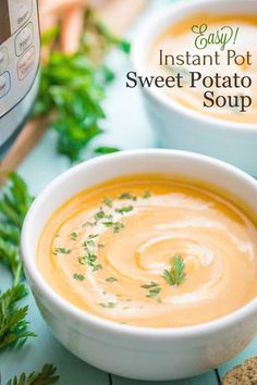 "A delicious, beautifully balanced Instant Pot Sweet Potato Soup! A family treasure - now healthier and easier but still ""PERFECT""! Freezable, too! Healthy Soup Recipes, Vegetarian Recipes, Healthy Chili, Easy Meal Prep, Easy Meals, Healthy Thanksgiving Recipes, Sweet Potato Soup, Holiday Meals, Freeze"