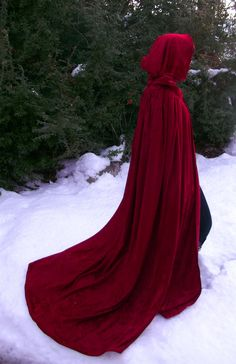 Check out the new cloak I am selling. I always wanted to have a Red Riding Hood cloak. Crushed panne luxurious fully lined cloak - MADE TO ORDER. $140.00, via Etsy.
