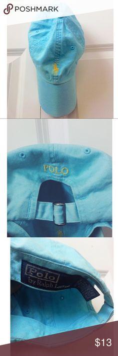 Light Blue Ralph Lauren Hat Polo Ralph Lauren Baseball Hat • Yellow Accents • Adjustable Band • Ralph Lauren Accessories Hats
