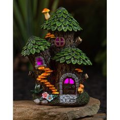 Cute Fairy House - Cottagecore Aesthetic #AD #affiliate Fairy Garden Plants, Fairy Garden Houses, Shade Garden, Fairy Gardens, Garden Gnomes, Miniature Gardens, Fairy Garden Doors, Fairies Garden, Herb Garden
