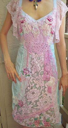 BOHO - Upcycled Aqua Blue Velvet and Vintage Crochet Lace Quilt Dress Vintage Crochet, Vintage Lace, Crochet Lace, Crochet Doilies, Upcycled Vintage, Altered Couture, Linens And Lace, Boho Gypsy, Bohemian
