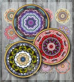 """Digital Collage Sheet, 1.5"""", 1.25"""", 30mm, 25mm, 1 inch circles, INSTANT DOWNLOAD for pendant, Mandala - Shady Forest by collageva"""