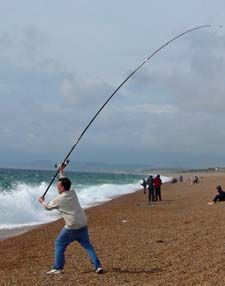 surf casting off Dorsets famous Chesil Beach Saltwater Fishing Gear, Trout Fishing Tips, Surf Fishing, Best Fishing, Fishing Reels, Fishing Boats, Fishing Lures, Fishing Tricks, Fishing Stuff