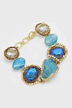 Gold Diped Druzy Bracelet in Blue Agate on Emma Stine Limited