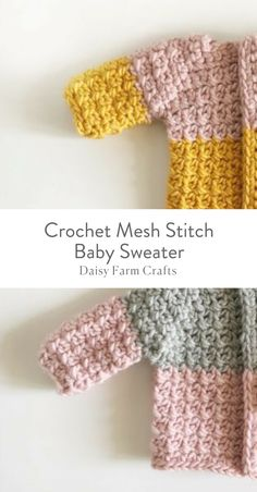 This is a free pattern for a beautiful crochet mesh stitch baby sweater. The mesh stitch really helps you to keep stitches lined up and even-- a single crochet is always worked into a single crochet and a chain is always over a chain from the row below. Crochet Bebe, Baby Girl Crochet, Love Crochet, Crochet For Kids, Beautiful Crochet, Knit For Baby, Single Crochet, Crochet Flowers, Baby Sweater Patterns