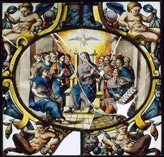 Réunion des Musées Nationaux-Grand Palais - Musée d'Ecouen: vitraux. La Pentecôte. Ec. 156. Fin XVI°s, France (origine)