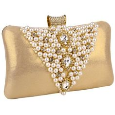 MG Collection Gold Pearl Bead / Rhinestone Brooches Hardcase Clutch Evening Bag MG Collection,http://www.amazon.com/ via: