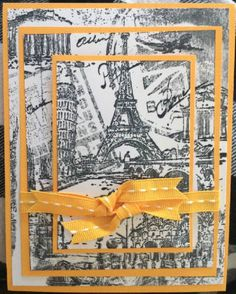 Triple Stamping - Travel - Yellow by Chipchick - Cards and Paper Crafts at Splitcoaststampers  I like the idea of using a montage stamp for this technique. I have several stamps that I don't use near enough.