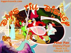 Days till Disney: 15 days Peter Pan Movie # 15 - February 1953 -  #TTDAVCDN Count down to YOUR next Disney vacation at: http://www.tiggertravels.com/ #disneycountdown #vacationcountdown  #Disney #vacation #TiggerTravels #TiggerTravelsSite #TiggerTravelsDotCom  #TiggersTravels