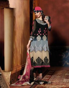Periwinkle Black & Cream Embroidered Churidar Suit Design No :- 18560 Product :- Unstitched Salwar Kameez Size :- Max 40 Fabric :- Pure Georgette Work :- Resham, Jari, Embroidery, Diamond Work Stitching Charges :- र 400 Price :- र 6145  For Sales Queries :- sales@manjaree.in OR call on 0261-3131669  For More Information :- http://manjaree.in/  Follow Our Blog :- http://manjareefashion.blogspot.in/