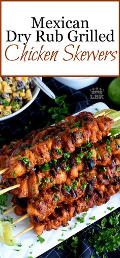 Mexican Dry Rub Grilled Chicken Skewers - Perfect for Father's Day, and with just a little bit of prep, using mostly pantry ingredients, Mexican Dry Rub Grilled Chicken Skewers are fast, easy, and delicious! #mexican #chicken #skewers #grilled #fathersday