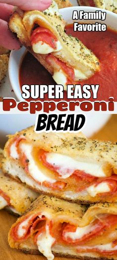 Pepperoni Bread - refrigerated pizza dough, pepperoni and provolone cheese rolled up to make one heck of an appetizer. Remember the marinara for dunking! Italian Recipes, Vegan Recipes, Cooking Recipes, Pizza Recipes, Skillet Recipes, Cooking Tools, Bread Recipes, Easy Weeknight Dinners, Easy Meals