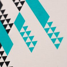 'Deco Teal' screen print by Chris Homer close up detail shot #geometric #graphicdesign #modernist #illustration #screenprint #print #abstract #details