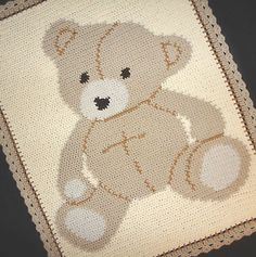 Crochet Patterns Baby Bear Graph Afghan Pattern Easy | eBay