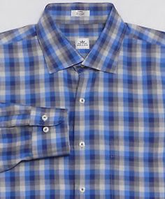 Mens-PETER-MILLAR-Long-Sleeve-Shirt-LARGE-Blue-Gray-Shadow-Plaid-100-Cotton