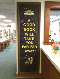 I used white paint to make the stars i - Star Wars Girls Ideas of Star Wars Girls - Star Wars library reading Bulletin board. I used white paint to make the stars in the background. School Library Displays, Middle School Libraries, Elementary Library, School Library Themes, Space Theme Classroom, Star Wars Classroom, Classroom Door, Disney Classroom, Classroom Ideas