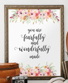 Fearfully and wonderfully made Nursery wall by TwoBrushesDesigns #nurserybibleverses