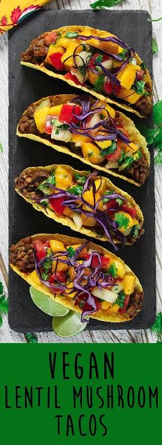 Taco night will never be the same after you try these Lentil Mushroom Tacos with Mango Salsa. They are sweet, savory and down right delicious! C'mon over to Vegan Huggs for this quick & easy recipe. #vegantacos #mangosalsa