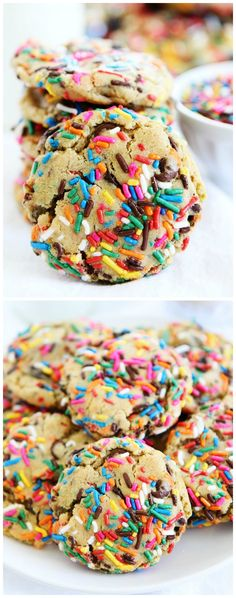 Sprinkle Chocolate Chip Cookie Recipe on twopeasandtheirpo. The BEST chocolate chip cookies ever! These cookies are perfect for any celebration or just because! Easy Cookie Recipes, Baking Recipes, Sweet Recipes, Dessert Recipes, Cookbook Recipes, Yummy Treats, Delicious Desserts, Sweet Treats, Chocolate Chip Cookies