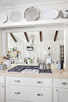 Looking for White Cottage Kitchen ideas? Browse White Cottage Kitchen images for decor, layout, furniture, and storage inspiration from HGTV. Kitchen Pass, Family Kitchen, Kitchen Redo, Living Room Kitchen, Kitchen Styling, Country Kitchen, New Kitchen, Kitchen Design, Family Room