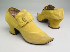 Shoes, silk, linen, satin and leather, 1735-45.