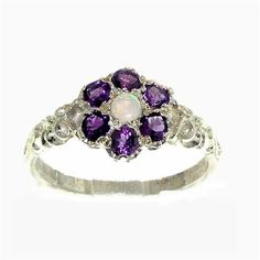 """An impressive Sterling Silver ring set with seven 3mm (0.12"""" inches) Natural round Opal & Amethysts in an unusual Antique Style daisy flower setting with carved shoulders."""