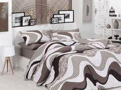 Moderní povlečení z hladké bavlny s výrazným vzorem v různých odstínech hnědé barvy.     Vzor na obou stranách povlečení je stejný.     Zapíná se zipem.     Materiál: 100% hladká bavlna. Comforters, Blanket, Bed, Furniture, Home Decor, Creature Comforts, Quilts, Decoration Home, Stream Bed