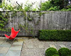 """gardenista.com  """"It's a simple idea, with an interior grid, a bluestone patio. and a hedge on the perimeter,"""" says Welti. """"The trick to get it to work in any given space is to finesse the measurements. Lay it out, and if your eye tells you it's not right, adjust it. Proportion is the important thing."""" Image via Foras Studio."""