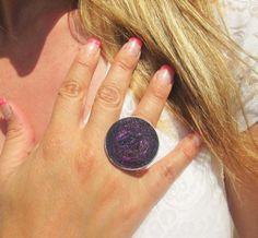 Bague femme réglable capsule de café violet avec paillettes : Bague par perles-de-filles