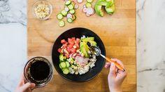 "The Hawaiian ""poke bowl"" brings together the sea, the land, and all the diverse flavors that go along with Vegan Gluten Free, Vegan Vegetarian, Vegan Meals, Hawaiian Poke Bowl, Persian Cucumber, Rice Vinegar, Vegan Recipes Easy, Plant Based Recipes, Lettuce"