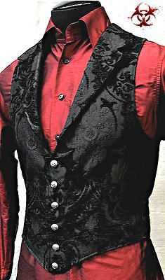 Victorian Aristocrat Vest by Shrine Clothing Goth Steampunk Mens Jackets Absolutely love! This outfit is gangsta! Steampunk Men, Steampunk Wedding, Steampunk Clothing, Gothic Clothing Mens, Steampunk Fashion Men, Vampire Clothing, Victorian Gothic Wedding, Gothic Shirts, Victorian Dresses