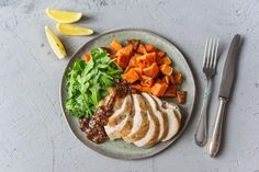 Drizzly Balsamic Fig Chicken with Sweet Potatoes and Arugula