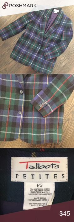 Talbots Wool Tartan Plaid Blue & Green Blazer Fun tartan blazer by Talbots. Wool blend. 2 front buttons and 2 front pockets. Fully lined. Size Petite Small(the length isn't petite, but the sleeves are). Talbots Jackets & Coats Blazers