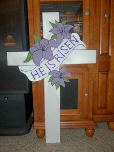 "Easter Cross ""he Is Risen"" Yard Art Decoration"