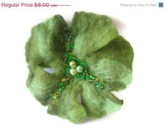 ON SALE CLEARANCE Felt wool shamrock pin brooch green by feltinga