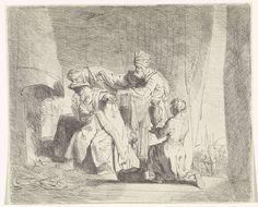 Bernard Picart   Manius Curius Dentatus weigert geschenken, Bernard Picart, Rembrandt Harmensz. van Rijn, 1683 - 1733   De Romeinse consul Manius Curius Dentatus leefde vrijwillig in armoede en weigert de geschenken die hij krijgt aangeboden. Het verhaal is een voorbeeld uit de klassieke literatuur van onomkoopbaarheid.