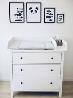 Our Changing Table // How did the slim Hemnes Ikea chest of drawers .- Unsere Wickelkommode // Wie haben die schmale Hemnes Ikea Kommode mit … Our changing table // How did the narrow … - Ikea Bedroom, Baby Bedroom, Baby Boy Rooms, Baby Room Decor, Ikea Baby Room, Ikea Baby Nursery, Sky Nursery, Baby Nursery Furniture, Ikea Hemnes Changing Table