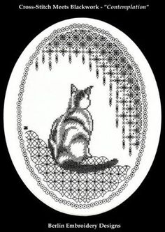 """Contemplation - Blackwork - Cross Stitch Pattern - This cross-stitch meets blackwork design can be worked on any count fabric with one color of your choice of floss. Design size on 14 or 28 count fabric: 7 3/4"""" x 10"""". Design size on 16 or 32 count fabric: 6 3/4"""" x 8 1/2""""...see more at 123Stitch.com"""