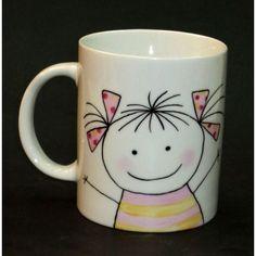 Taza Mug de porcelana blanca, pintada a mano con una simpática niña que se puede…