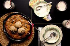 Banana walnut chocolate cookie cake by @joythebaker.